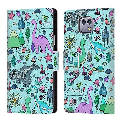 Head Case Designs Kawaii Tiere Prähistorische Muster Brieftasche Handyhülle aus Leder für LG X cam