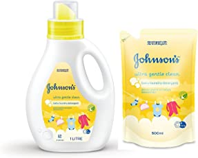 Johnson's Baby Laundry Detergent - Ultra Gentle Clean 1000ml Bottle With 500ml Pouch