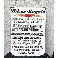 Biker Regeln Holzschild im Shabby Vintage Style