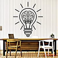 Vinyl Wall Decal Bulb Idea Brain Motivation Decor for Office Room Stickers Removable Art Mural for Bedroom Living Room 56X65CM