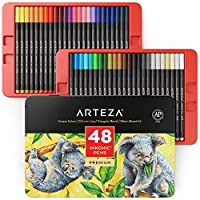 Arteza Inkonic Fineliner Pens, 0.4 mm Tips, Set of 48 Colours, Water-Based, Non-Toxic, Fine Liner Coloured Pens for Drawing Details & Mixed Media Art