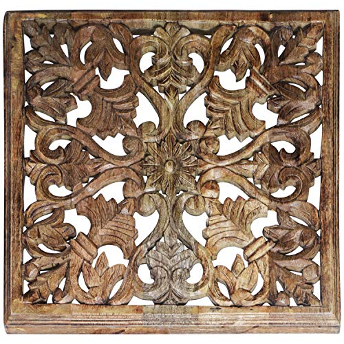 Orientalische Holz Ornament Wanddeko Ayub 60cm gross | Orientalisches Wandbild Wanpannel in Natur Braun als Wanddekoration | Vintage Relief als Dekoration im Schlafzimmer oder Wohnzimmer -