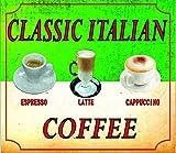 SIGNS 2 ALL S4122Klassisches italienisches Kaffee Cappuccino Espresso Latte Nostalgie Vintage Retro Funny Metall Werbung Wandschild