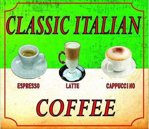 S4122Klassisches italienisches Kaffee Cappuccino Espresso Latte Nostalgie Vintage Retro Funny Metall Werbung Wandschild