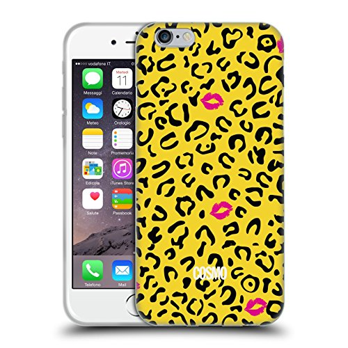 Official Cosmopolitan Yellow Green Sassy Leopard Soft Gel Case for Apple iPhone X Black And Yellow