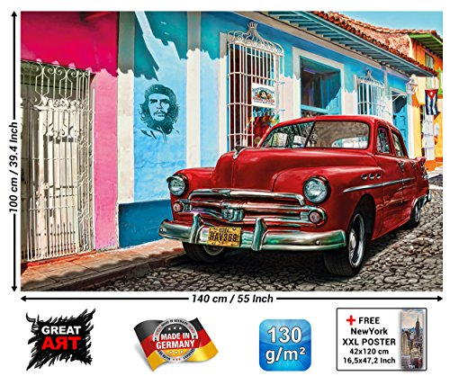 GREAT ART XXL Poster - Oldtimer in Havanna Wanddekoration - Auto Wandbild Kuba Artwork Illustration Roter Chevrolet Wohnzimmer Kunst Motiv Kubanische Straße Dekoration (140 x 100 cm)