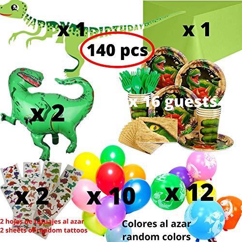 88 pezzi: 24 piatti carta /Ø23cm, 24 bicchieri plastica 200ml, 40 tovaglioli carta 33x33cm Kit Party Tavola Jurassic World 2 per 24 persone