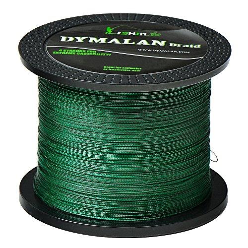 DYMALAN Geflochtene Angelschnur 4 Stränge 10lb PE Super Line - Abrieb-Widerstand-Angelschnur - Null Stretch - Dünner Durchmesser für Salzwasser & Süßwasser