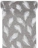 Tischläufer Jute Feder 28 cm x 3 m Grau Dekostoff Tischdeko Deko Banner