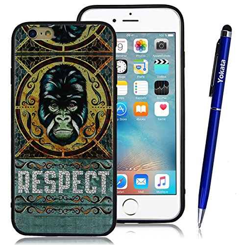 Yokata iPhone 6 / iPhone 6s Hülle Weich Silikon TPU Soft Case Handyhülle Schutzhülle Clear Backcover mit Fische Taiji Mode Muster Protective Cover + 1 x Kapazitive Feder Gorilla