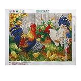 display08Steck-Malerei aus Kunstharz-Diamanten, Steckbild zum Selbermachen, Motiv: Hahn auf Farm