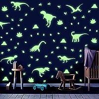 Stickers Muraux Dinosaure Chambre D'enfants,Autocollant Muraux Lumineux Dinosaure,Sticker Mural Empreinte Dinosaure…