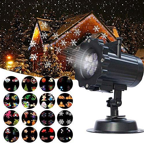 Proyector de Luz, Guaiboshi Proyector LED Iluminación con 16 Mover Patrones Cambiables Impermeable Interior Al Aire Libre Luces de Proyector LED Efecto De Luz del Paisaje para la Navidad, Halloween