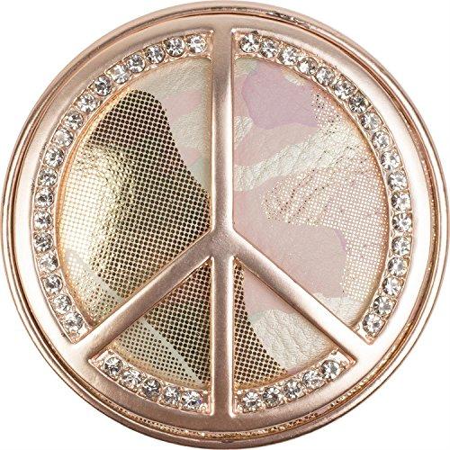 styleBREAKER Peace Magnet Schmuck Anhänger mit Strasssteinen und Camouflage für Schals, Tücher oder Ponchos, Brosche, Damen 05050045, Farbe:Rosegold -
