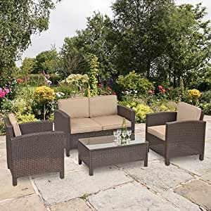 Suntime Brown Amalfi Rattan Suite with Beige Cushions