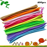Yakamoz 400pcs Fils Chenille Multicolore Chenille Loisirs Creatifs Colorés Stick Peluche Enfants Éducatifs DIY Art Doll Bricolage Matériaux...