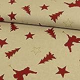 Dekostoff Weihnachten Engel Sterne beige rot Canvas - Preis gilt für 0,5 Meter -