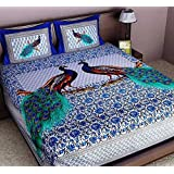 Ealth Kart 144 TC 100% Cotton Rajasthani Jaipuri Double Bedsheet with 2 Pillow Covers - Blue