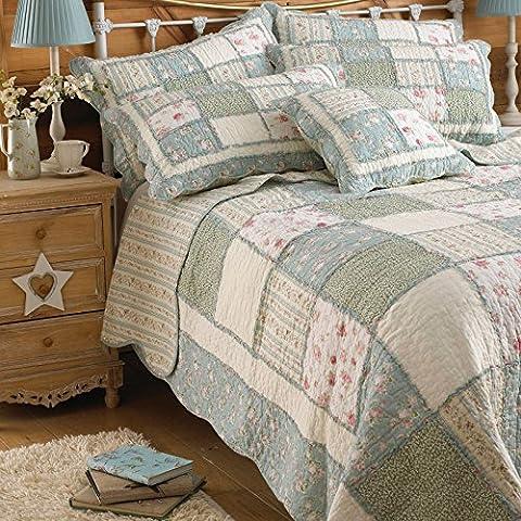 matelassé Patchwork à motifs Couvre-lit Housse de matelas–100% coton, 100 % coton, Vert/bleu, King