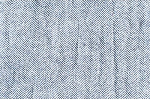 vorgewaschen Pure Flachs Leinen Stoff Meterware–Blau/Weiß–Breite 140cm (139,7cm)–230gsm gesoftete Fischgrätenmuster Textil (Hose Gewaschenes Leinen)