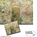 Geschenkset: 1 Poster Kunstdruck (80x60 cm) + 1 Mauspad (23x19 cm) - Mauern, Romantische Garten-Mauer