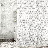 ZfgG Wasserdichter und Mildewproof Duschvorhang, weißer Polyester verdickte Badezimmer-Trennvorhang, sechseckiger Druck des Umweltschutzes rostfreier kupferner Eyelet gewichteter Rand -Dauerhaft