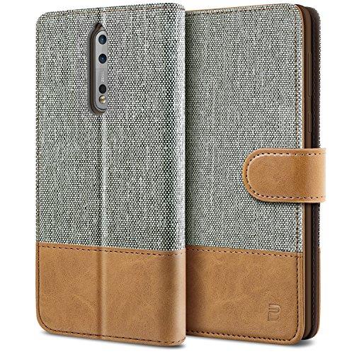 BEZ Hülle für Nokia 8 Handyhülle, Schutzhülle Kompatibel für Nokia 8 Hülle Handytasche Tasche [Stoff und PU Leder] mit Kreditkartenhaltern, Grau