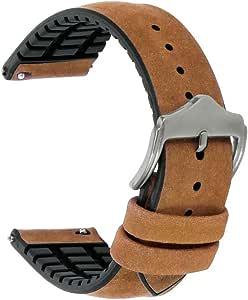 Uhrenarmband Leder 20mm Schnellverschluß Uhrenarmbänder Leder Mit Silikon Armband Uhrenarmband Echtes Leder Für Herren Damen Uhren Smartwatches Uhren