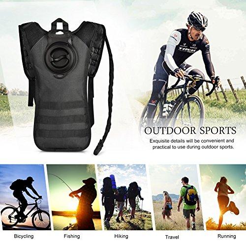 Vbiger Sacca Idratazione Impermeabile Zaino per Ciclismo, Escursionismo, Corsa, Campeggio, Camminata nero 1(Con 2.5L Sacca Idratazione)