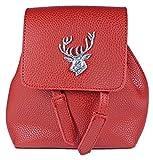 Trachten Umhängetasche in Rucksackform mit Hirschapplikation - Rot