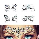 Juwelen Aufkleber Gesicht Strass Tattoo Körper Kristall Glitter Edelstein Für Festival Parties Shows Make-Up Haut Kunst 4 Stück