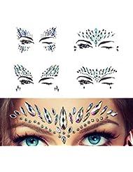 Strass Autocollant Visage Tatouage Glitter Scintillement Bijoux De Corps Pour Des Festivals 4 Pièces