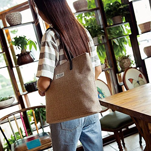 Meiye Large Canvas Tote Bags Avec Zipper Closure Design Beach Tote Sacs à main pour les filles Shoulder Hand Bag (Kaki) Kaki
