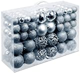 Unbekannt Christmas Gifts 100 x Weihnachtskugeln, Plastik, Silver, 12.1 x 35.7 x 23.4 cm
