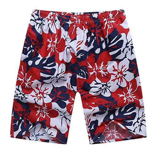 Sommer Männer Strandhosen Schnelltrockner Casual Hosen Sporthosen lose Hosen rot & blau