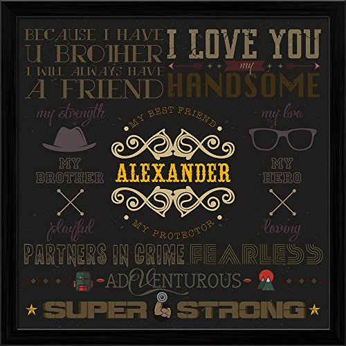 ArtzFolio AZ My Super Strong Brother Photo Collage Black Wood Frame Personalised Gift 14 x 14inch