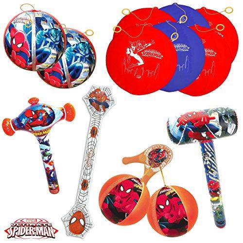Spiderman Kit de fiesta de cumpleaños con 11 juguetes hinchables para los niños