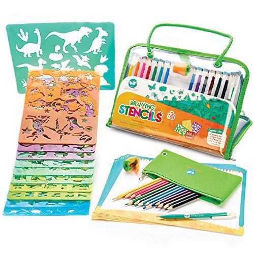 Maxi kit di stencil e disegno per bambini di creativ' craft - gioco educativo per bambini dai 4-10 anni - il perfetto compagno di viaggio che stimola la creatività - vincitore del golden award 2016 di