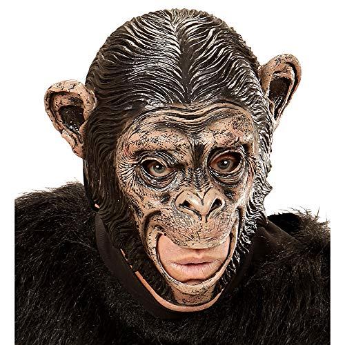 Widmann 00425 3/4 Maske Schimpanse mit offenem Mund für Erwachsene, schwarz