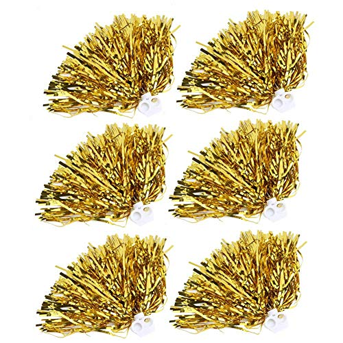 Tbest Cheerleader Pom Poms 6 / 12pcs Cheerleading Poms Metallfolie Pom Poms Squad Jubel Sport Party Dance Nützliches Zubehör(Golden 12)