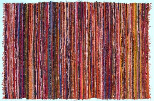 Guru-Shop Leichter Flickenteppich, Flickendecke 100x160 cm, Orange-bunt, Baumwolle, Farbe: Orange-bunt, Teppiche, Bodenmatten