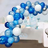 Blue Balloons Garland Kit Arch 117 Pcs Navy Sky Blue Balloon White Silver Balloons for Baby Shower Wedding Birthday…