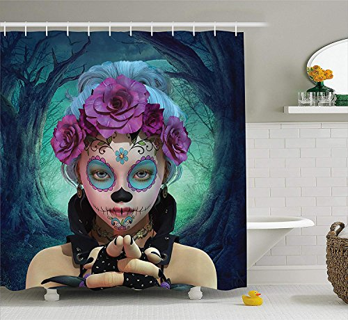 JIEKEIO Horror Shower Curtain, Scary Clown Like Girls Showing her Hands with Gloves an Flowers in Her Head Print, Fabric Bathroom Decor Set with Hooks,60 * 72inch, Multicolor