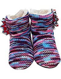 Mujer Suave Zapatos Botas Pisos Interiores Piso Flores de Ganchillo Inicio Primavera Calientes Zapatillas soñolientas