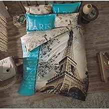 Original Juego de Funda de Edredón, diseño de Amor Torre Eiffel de París Turquesa, Para Cama Doble, 100% algodón, 6 Piezas (funda de edredón + sábana ajustable + 4 funda almohada)