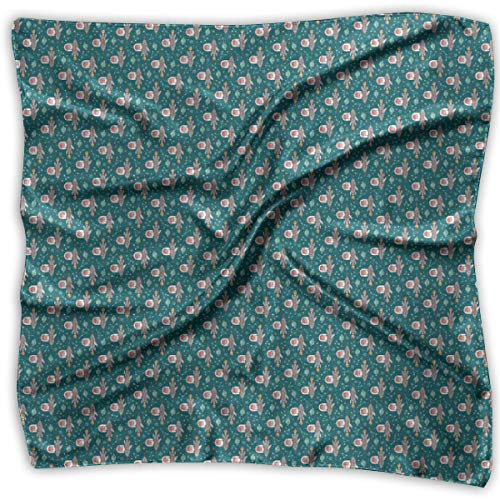 Weihnachten Santa Claus Space Rockets Planets Constellations auf grünem Teal Tiny Rotated Square Scarf Women's Square Headscarf Square Neck Head Scarf Scarves Ladies Hair Scarves 39