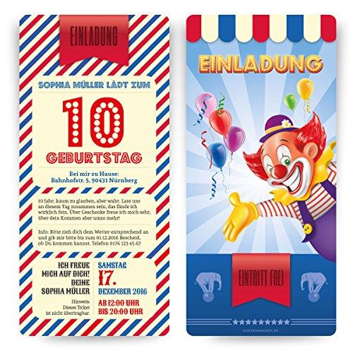 Einladungskarten (20 Stück) zum Kinder Geburtstag im Zirkus Clown Ticket Motiv Einladung (Zirkus-party-einladungen)