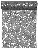 3 Meter Jute Tischläufer Weihnachten Sterne in Grau/Silber, 28 cm