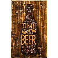 Time For A Beer - immagine incisa su Cuoio - Quadro in Legno - Etabeta Artigiano Toscano - Made in Italy