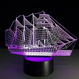 3D Lamp,Alisabler Amazing 3D Illusion Light Sailboat Illuminated LED Desk Lamp Night Light
